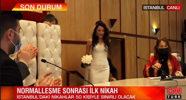 Normalleşme sonrası İstanbulda ilk nikah kıyıldı